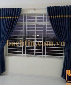 Rèm vải cửa sổ chống nắng màu xanh phối màu