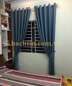 Rèm vải cửa sổ phòng ngủ xanh trơn