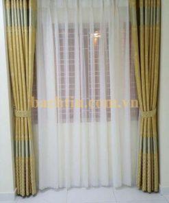 Rèm vải màu vàng sọc ngang