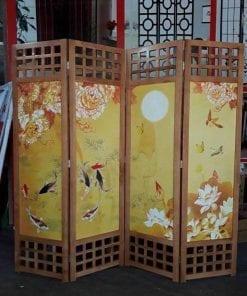 bình phong khung gỗ in tranh