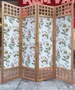 bình phong vải khung gỗ hoa lá cành