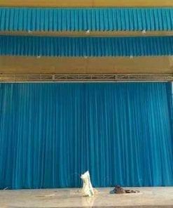 phông rèm hội trường màu xanh